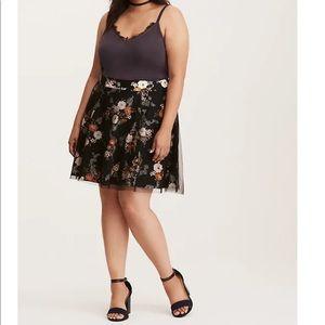 Torrid Mesh Floral A-Line Skirt